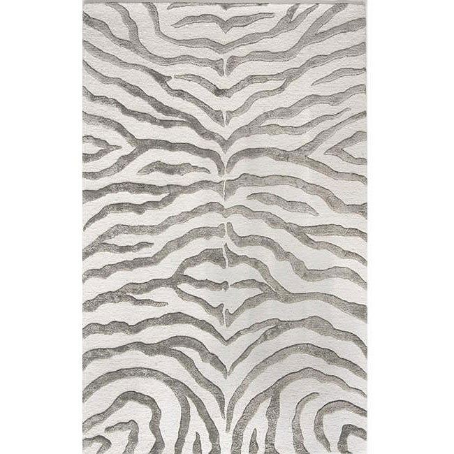 Handmade Alexa Zebra Grey Wool/ Faux Silk Highlights Rug