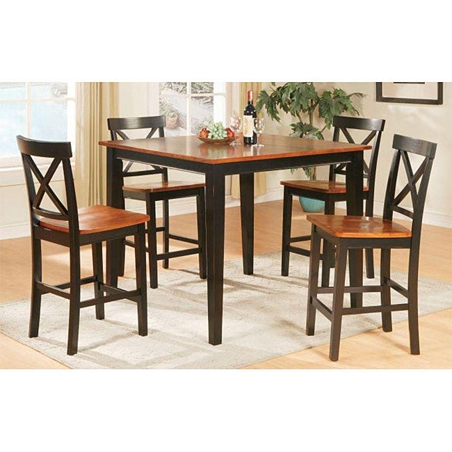 Tony solid wood brown two tone 5 piece dining room set for 2 tone dining room sets