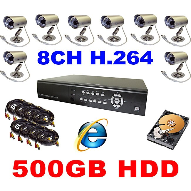 8-channel H.264 DVR Surveillance System Kits with 8 Night Vision Cameras