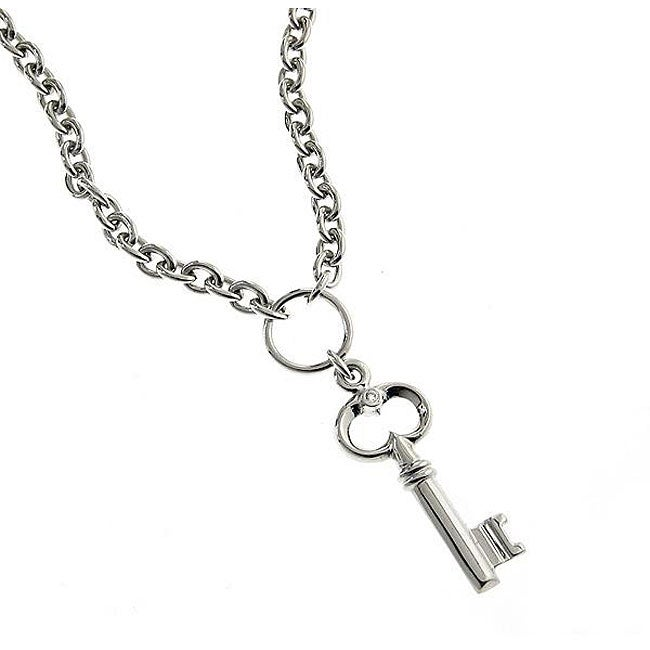 Beverly Hills Charm Silver Diamond Accent Key Charm Necklace