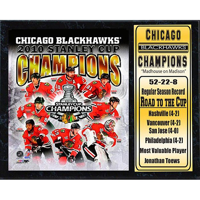 2010 Stanley Cup Champions Chicago Blackhawks 12x15 Stat Plaque