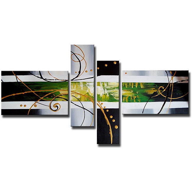 Hand painted Abstract 103 Gallery wrapped Canvas Art Set