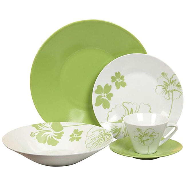 Casa Cortes 'Tropical Flower' 20-piece Dinnerware Set