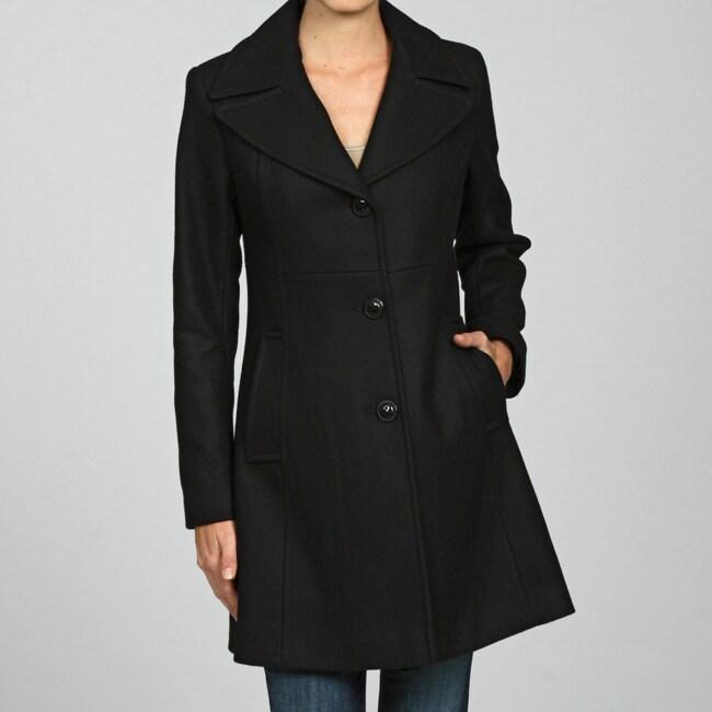 DKNY Women's Classic Notch Collar Wool Coat