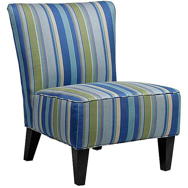 Portfolio Hali Striped Sea Blue Armless Designer Accent