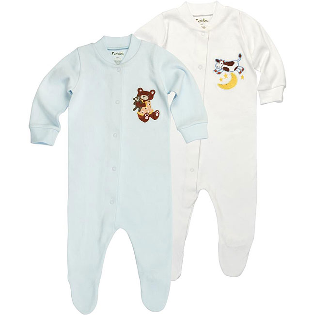 Funkoos Bear and Cow Organic Baby Sleepsuits (Pack of 2)