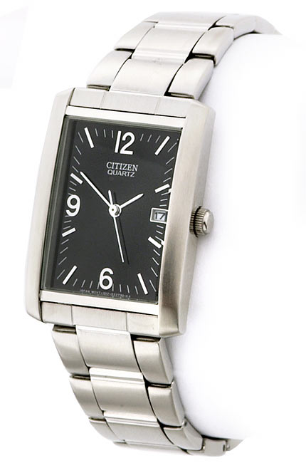 Citizen Men's Silvertone Tank-style Watch