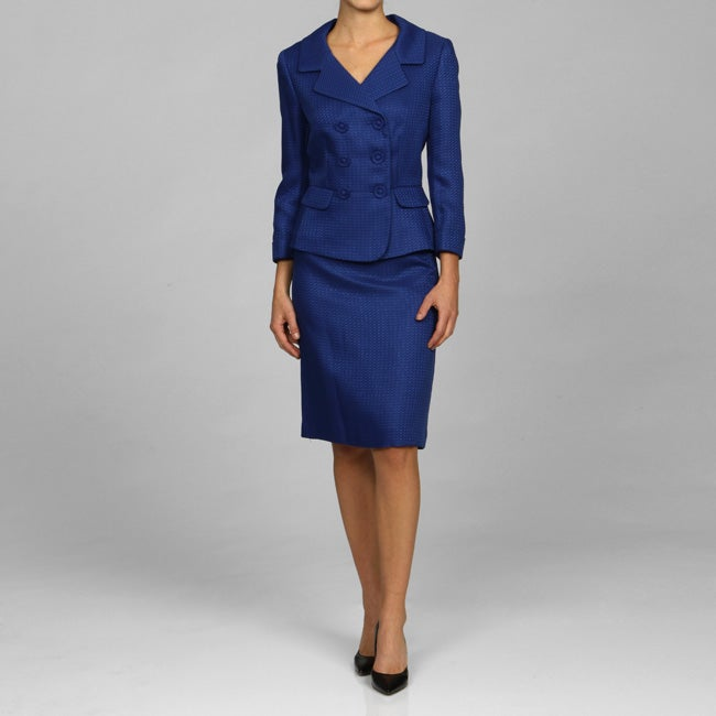 Tahari ASL Women's Blue Double-breasted Skirt Suit