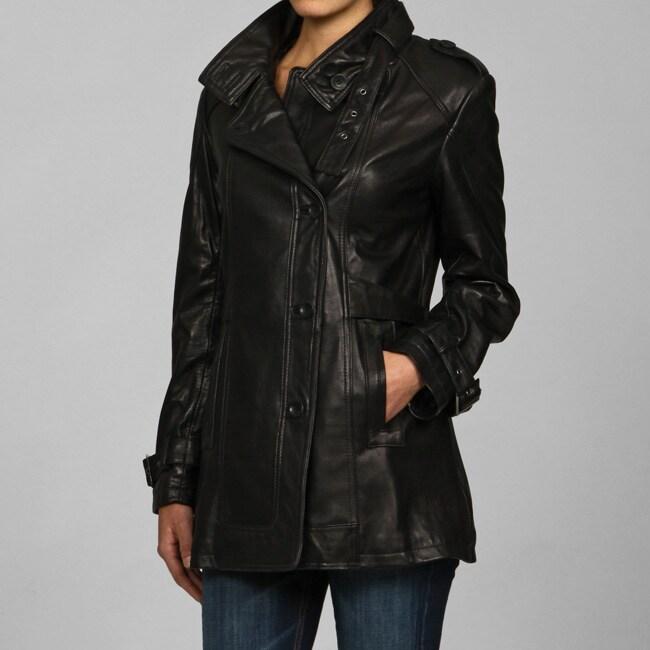 Collezione Italia Women's Leather Asymmetrical Placket Trench
