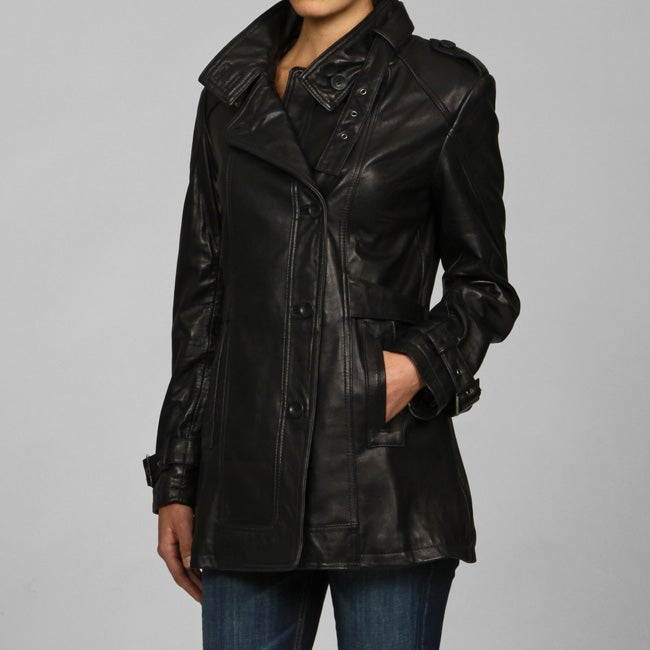 Collezione Italia Women's Plus Size Leather Asymetrical Placket Trench