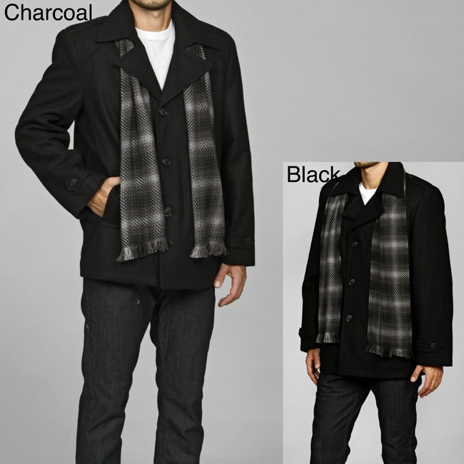 MICHAEL Michael Kors Men's Single-breasted Wool Blend Peacoat with Scarf FINAL SALE