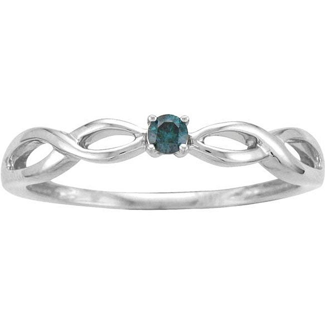 10k White Gold Blue Diamond Accent Promise Ring