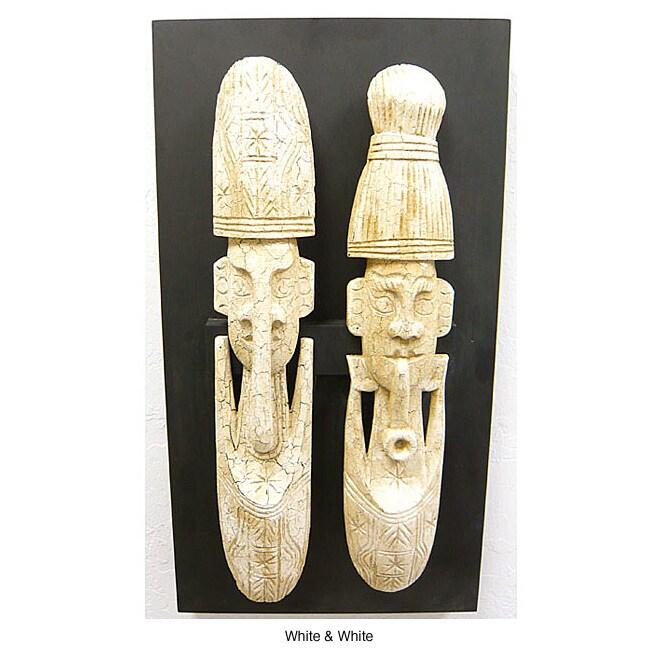 Set of 2 Monkey Pod Wood Carved Masks (Thailand)