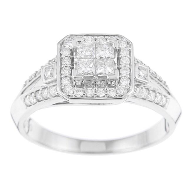 10k White Gold 1/2ct TDW Diamond Engagement Halo Ring (H-I, I1-I2)