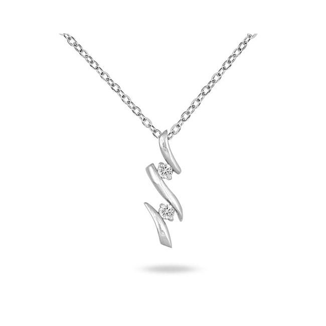 Eziba Collection 10k White Gold 1/10ct TDW Diamond Necklace at mygofer.com