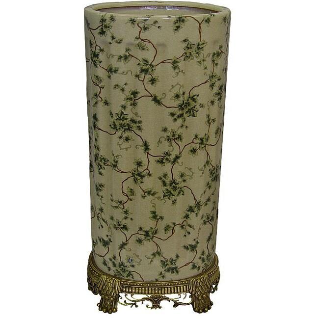 Porcelain Green Ivy Umbrella Stand