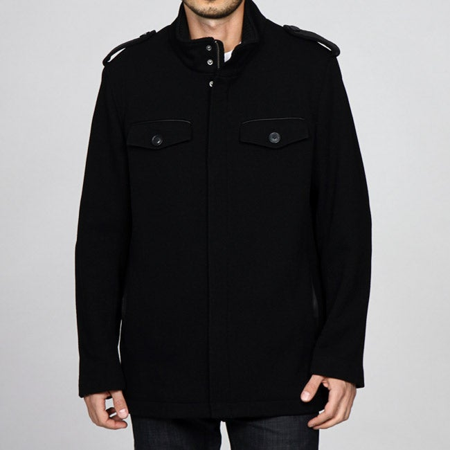 Cole Haan Men's Wool Blend Military Coat with Lamb Leather Trim