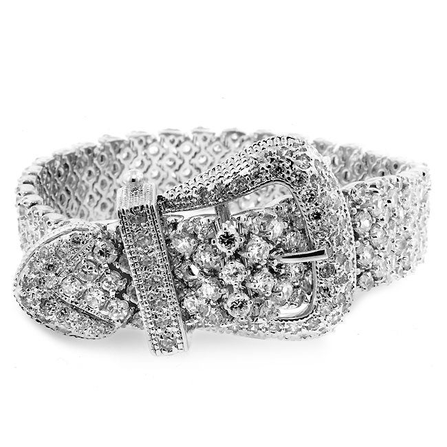 Eziba Collection Kate Bissett Silvertone Cubic Zirconia Oversized Designer-inspired Belt Bracelet at Sears.com