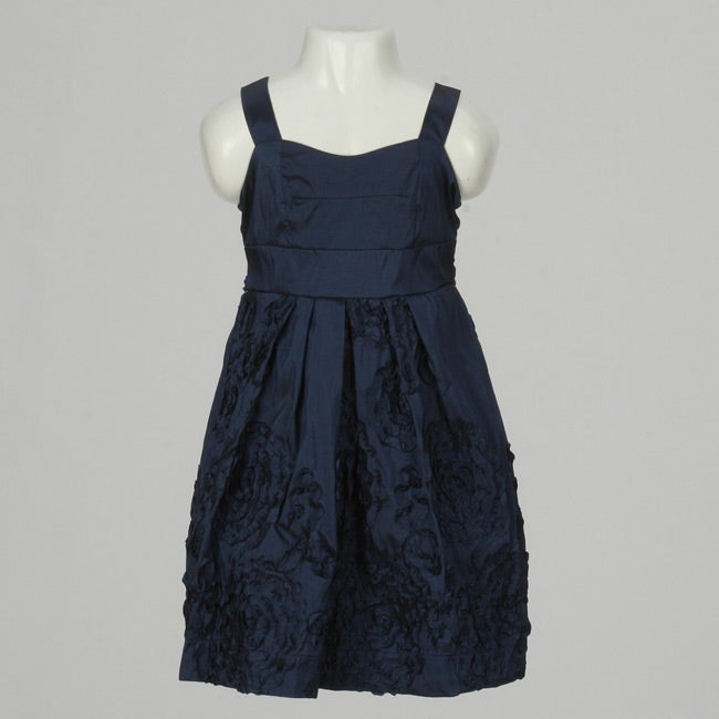 Ruby Rox Girls Navy Blue Rosette Dress