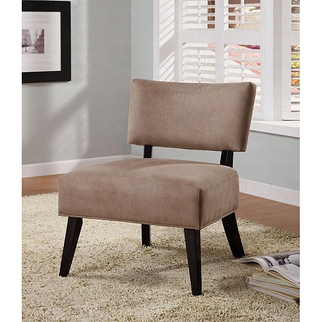 Light brown microfiber solid hardwood lounge occasional chair overstock shopping great deals for Microfiber accent chairs living room