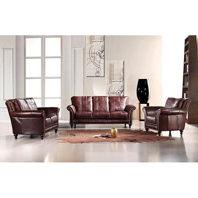 EuroDesign Brown 3-piece Leather Sofa Set
