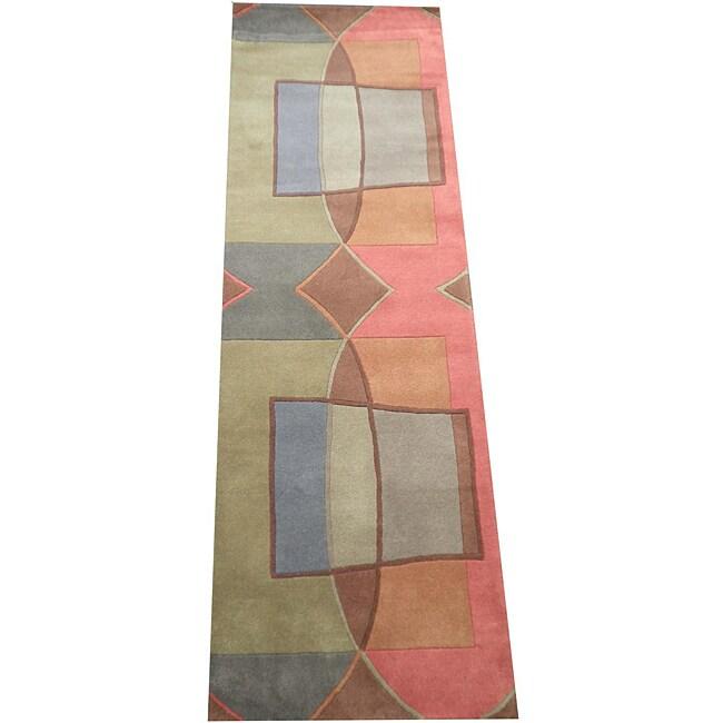 Indo Hand-Tufted Tibetan Multi-colored Wool Rug (2'6 x 8)