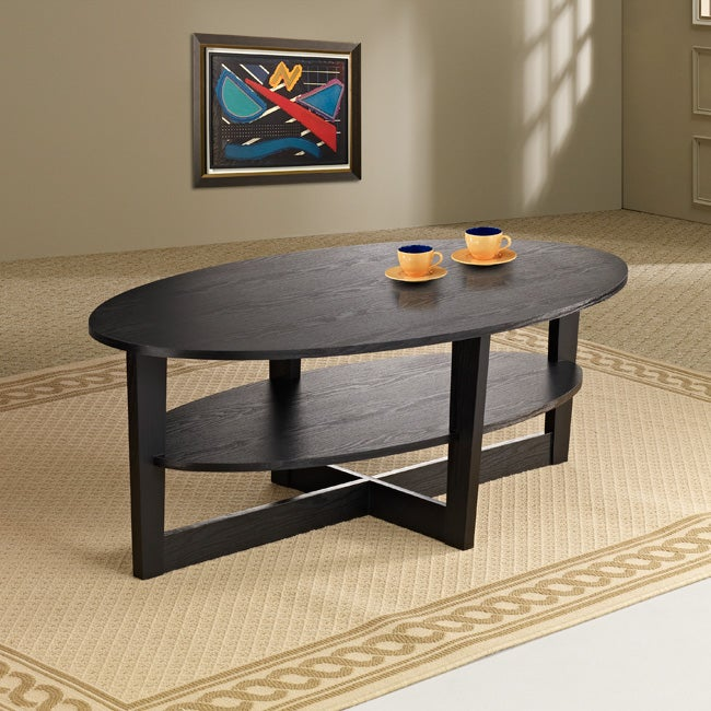 Furniture of America Giza Black 2-tiered Oval Coffee Table