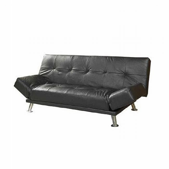 Black Leatherette Futon Sofa Bed 12982364 Overstock