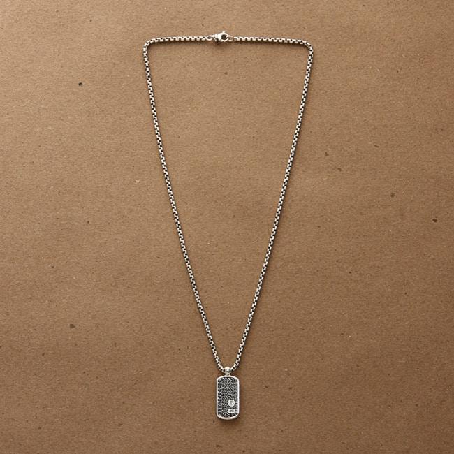 David Yurman Men s Sterling Silver Black Diamond Necklace Ov