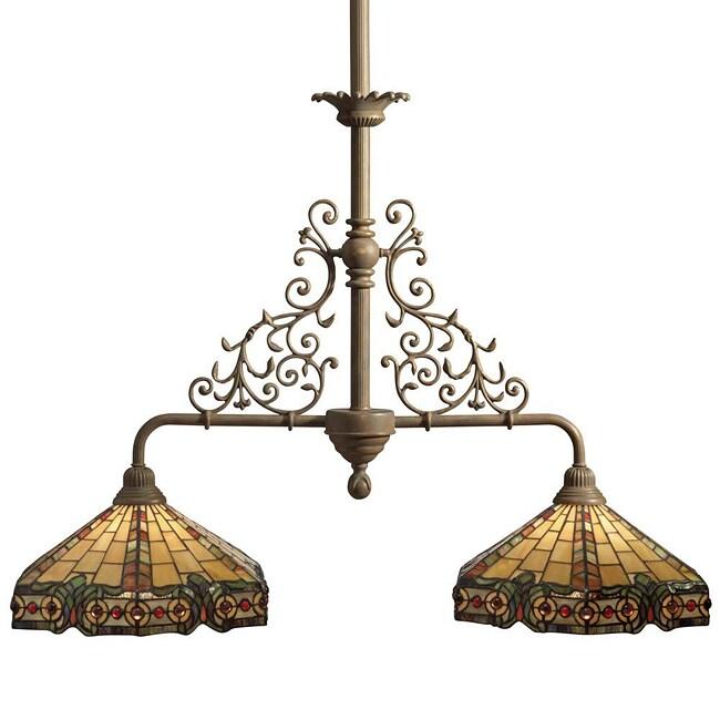 Tiffany-style 2-light Bronze Island Light