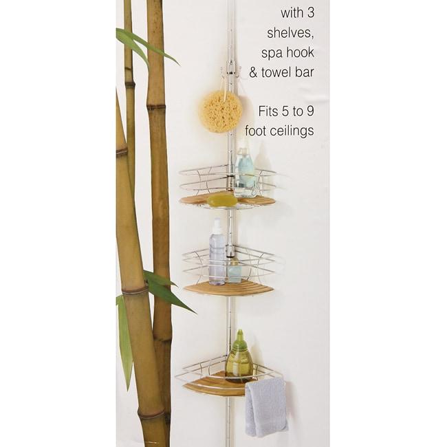 Bamboo Tension Pole Bath Caddy 13000975 Overstock Com