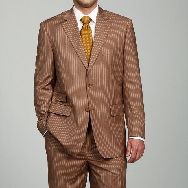Ferrecci Men's Brown Pinstripe Suit