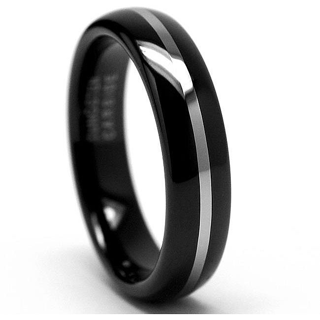 Unisex Black-plated Tungsten Carbide Wedding Band