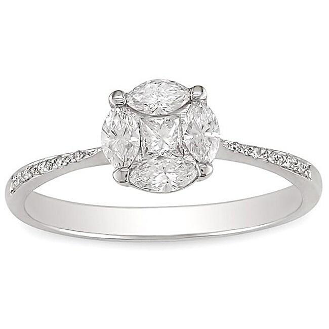 Miadora 18k White Gold 3/8ct TDW Diamond Ring (G-H, SI1-SI2)