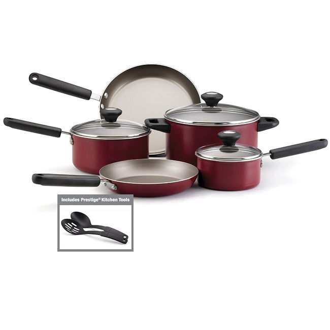 Farberware New Traditions Aluminum Nonstick 12-Piece Cookware Set, Red