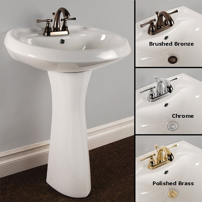 Oval Pedestal Sink : Fontaine Ceramic Oval Pedestal Sink and Faucet Combo - 13013313 ...