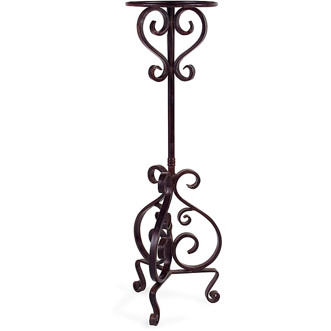 handcrafted provence tall metal scroll pedestal plant stand 13015704 shopping. Black Bedroom Furniture Sets. Home Design Ideas