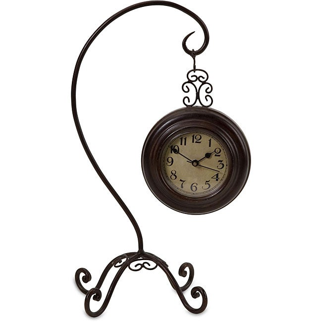 Handcrafted Argento Hanging Clock on Hook Stand