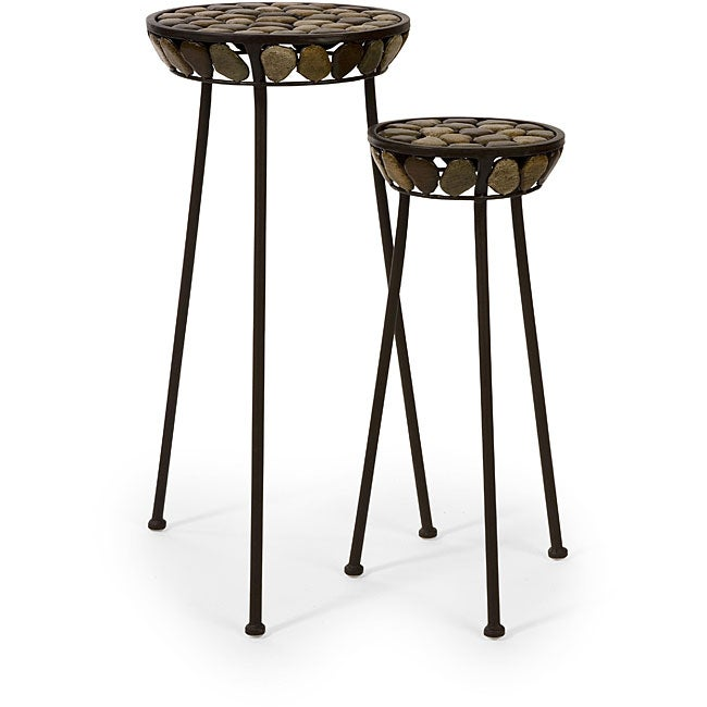 Set of 2 Iron Ningbo Flat Rock Top Plant Stands