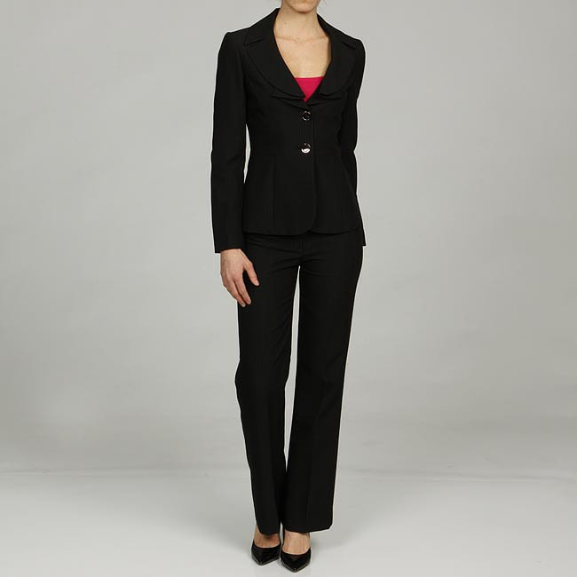 Tahari ASL Women's Black Pinstripe Ruffle-neck Pant Suit