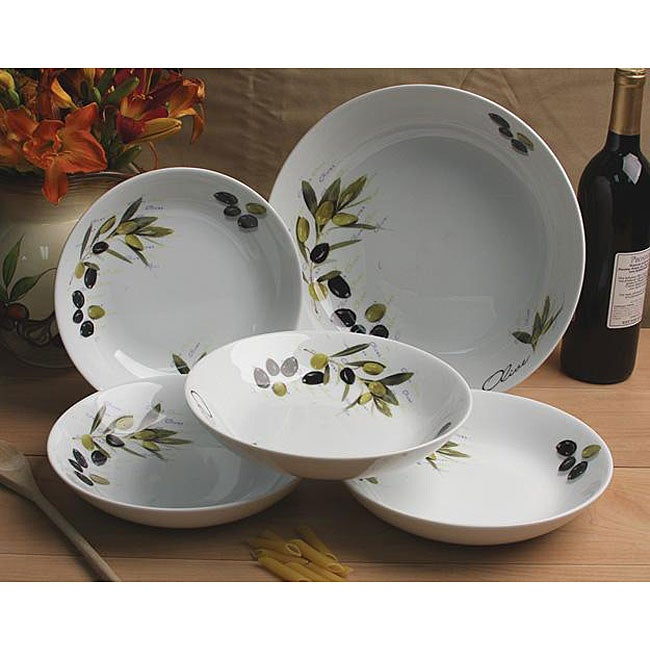 Lorenzo 5-piece Tuscan Olive Porcelain Pasta Bowl Set