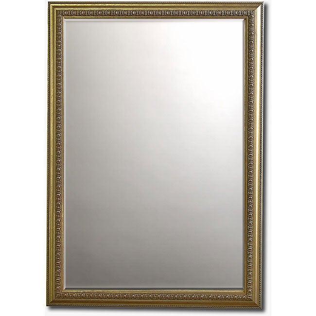 Rococo Silver Framed Beveled Wall Mirror