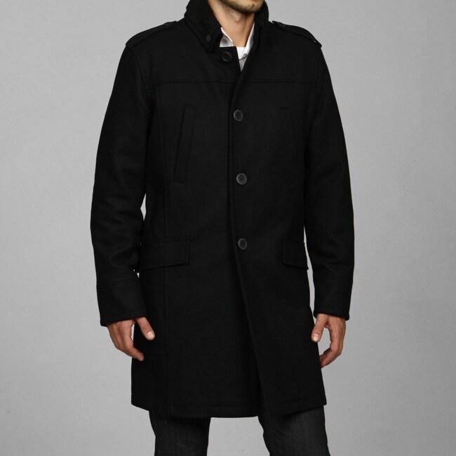 Black Rivet Men's Wool Blend Coat