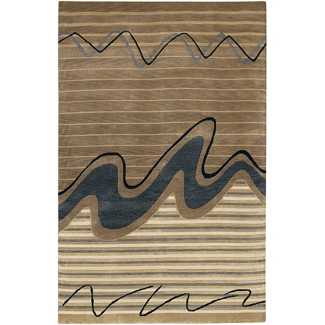 Hand-knotted Mandara Multi-colored Wool Rug (5' x 7'6)