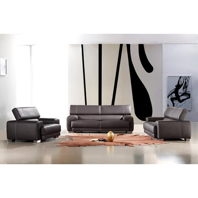 Modern black leather 3 piece sofa set 13036733 for 3 piece black modern sectional sofa