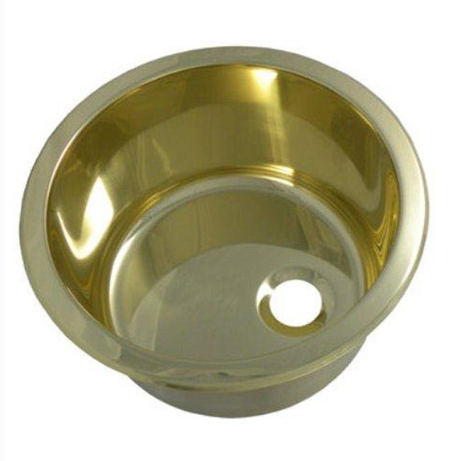 Portia 12-inch Round Polished Brass Bar Sink - 13039146 ...