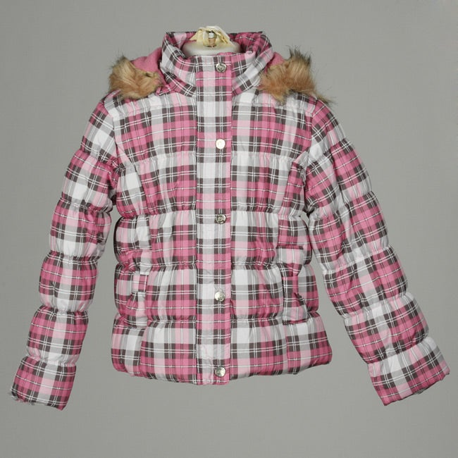 Dollhouse Big Girl's Plaid Puffer Coat