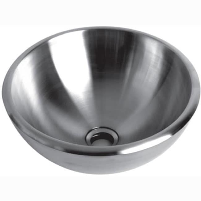 Brushed Stainless Steel Vessel Bathroom Sink - 13039521 - Overstock ...