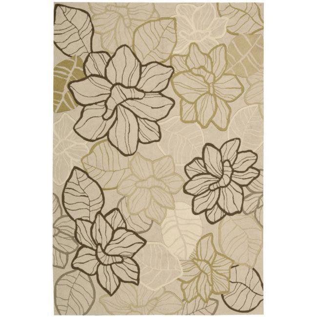 Nourison hand hooked fantasy beige rug 8 39 x 10 39 6 for 10x14 living room design