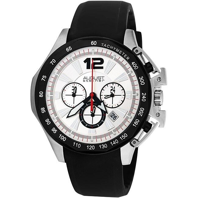 August Steiner Men's Stainless Steel Chronograph GMT Watch
